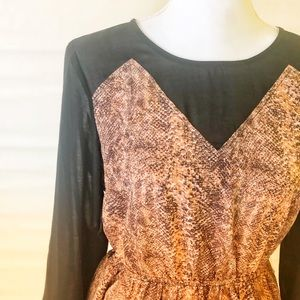 Snake print long sleeve empire cut dress
